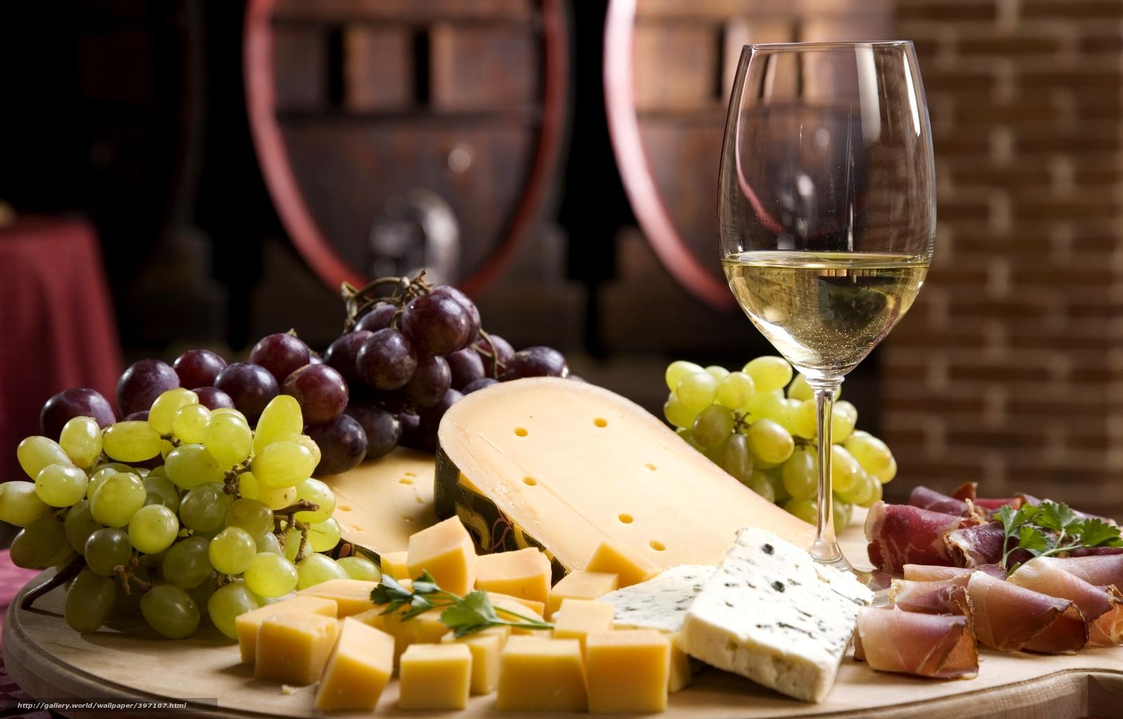 image vin blanc raisins et fromages