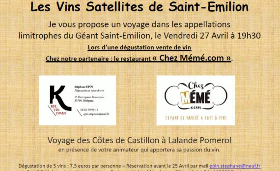 Dégustation des vins satellites de saint-émilion